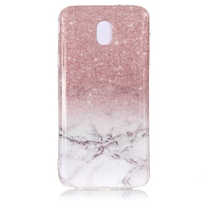 Pattern Printing IMD TPU Lightweight Back Case for Samsung Galaxy J7 (2018) - Grey Marble and Glittery Powder