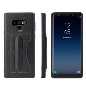 FIERRE SHANN PU Leather Card Holder Kickstand Back Casing for Samsung Galaxy Note 9 - Black
