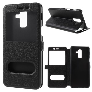 Silk Texture Dual View Window Leather Stand Cover for Samsung Galaxy J8 (2018) - Black
