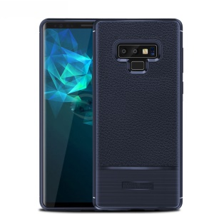 Litchi Texture and Brush TPU Cover Case for Samsung Galaxy Note 9 - Dark Blue