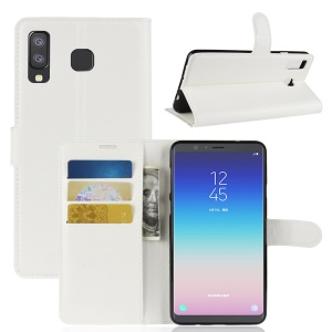 Litchi Grain Wallet Stand Leather Case for Samsung Galaxy A8 Star / A9 Star (China) - White