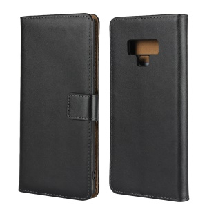 Genuine Leather Wallet Stand Phone Case for Samsung Galaxy Note 9 - Black