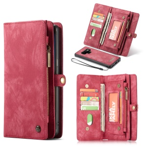 CASEME Vintage Split Leather Wallet Cover for Samsung Galaxy Note 9 - Red