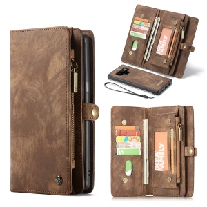 CASEME Vintage Multi-slot Split Leather Phone Case Accessory for Samsung Galaxy Note 9 - Brown