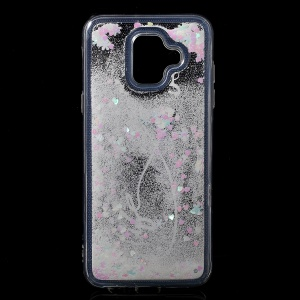 Pattern Printing Dynamic Glitter Powder Sequins TPU Back Case for Samsung Galaxy A6 (2018) - White Feather