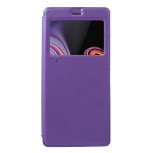 ROAR Noble Leather View Window Stand Folio Case Shell for Samsung Galaxy Note 9 - Purple