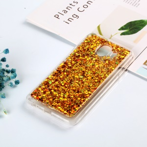 Color Changing Sequins Acrylic TPU Back Cellphone Case for Samsung Galaxy J4 (2018) - Gold