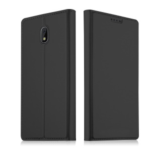 Auto-absorbed Leather Card Holder Case with Stand for Samsung Galaxy J7 (2018) - Black