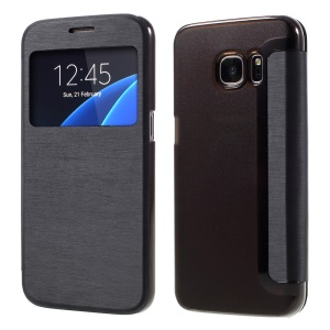 View Window Flip Leather Case for Samsung Galaxy S7 G930 - Black