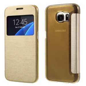 View Window Flip Leather Phone Case for Samsung Galaxy S7 G930 - Gold