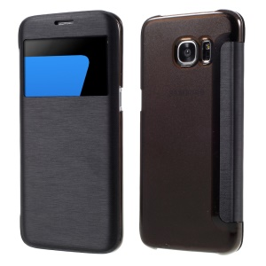 View Window Leather Case for Samsung Galaxy S7 Edge G935 - Black