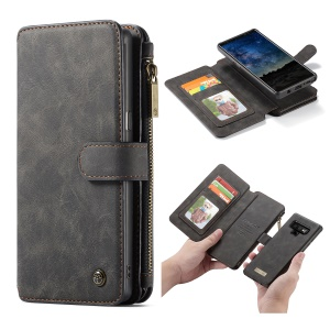 CASEME Detachable 2-in-1 Zipper Wallet Split Leather Cell Phone Case for Samsung Galaxy Note 9 - Black