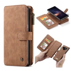 CASEME Detachable 2-in-1 Split Leather Zipper Wallet Phone Casing for Samsung Galaxy Note 9 - Brown
