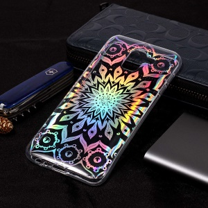 Colorful Laser Carving IMD Patterned TPU Cell Phone Shell for Samsung Galaxy J6 (2018) - Unique Flower