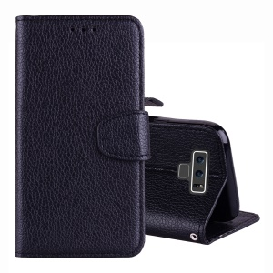 Litchi Grain Wallet Stand Leather Case with Strap for Samsung Galaxy Note 9 - Black