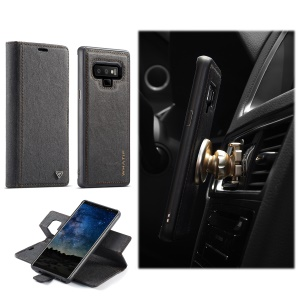 WHATIF PU Leather Wallet Case + Detachable PC TPU Hybrid Case for Samsung Galaxy Note 9 - Black