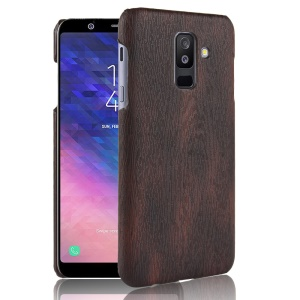 Wood Texture PU Leather Coated PC Mobile Phone Case for Samsung Galaxy A6 Plus (2018) / A9 Star Lite - Black