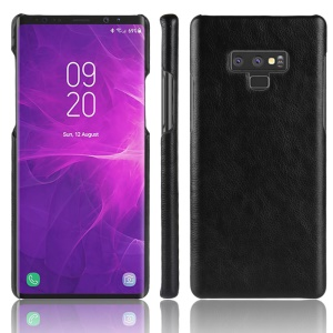 Litchi Skin Leather Coated Hard Plastic Case for Samsung Galaxy Note 9 - Black