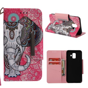 Pattern Printing Wallet Stand Leather Protection Mobile Casing for Samsung Galaxy A6 (2018) - Tribal Elephant