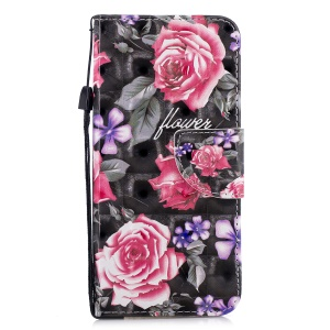 Patterned Light Spot Decor Magnetic Wallet Leather Case for Samsung Galaxy A6 (2018) - Rose Flower