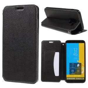 For Samsung Galaxy J6 (2018) Card Holder Stand Auto-absorbed Leather Mobile Casing - Black