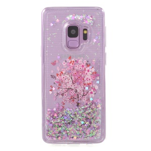 Pattern Printing Dynamic Glitter Powder Sequins TPU Cell Phone Cover for Samsung Galaxy S9 SM-G960 - Flowered Tree