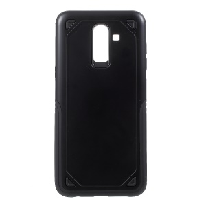 Rugged Armor Plastic + TPU Hybrid Case Cover for Samsung Galaxy J8 (2018) - Black