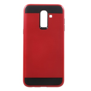 Brushed PC and TPU Hybrid Phone Case for Samsung Galaxy J8 (2018) - Red