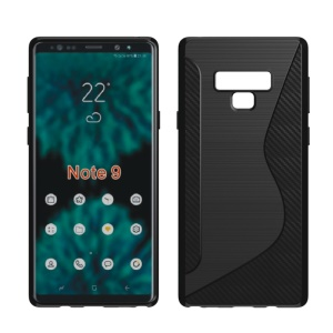 S Shape Carbon Fiber Texture Brushed TPU Back Case for Samsung Galaxy Note9 N960 - Black