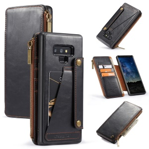 CASEME 011 Series 011 Series Detachable 2-in-1 Business Zipper Leather Wallet Case for Samsung Galaxy Note9 SM-N960 - Black