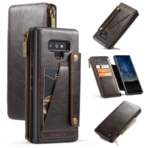 CASEME 011 Series 011 Series Detachable 2-in-1 Business Zipper Leather Wallet Case Shell for Samsung Galaxy Note9 SM-N960 - Coffee