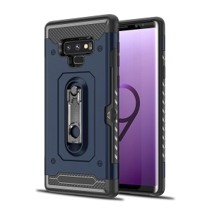 Armor Rugged PC + TPU Combo Cell Phone Case with Kickstand for Samsung Galaxy Note9 N960 - Dark Blue