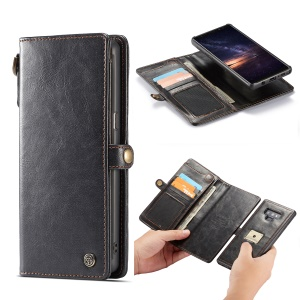 CASEME Qin Series Detachable 2-in-1 Split Leather Wallet Phone Case for Samsung Galaxy Note9 N960 - Black