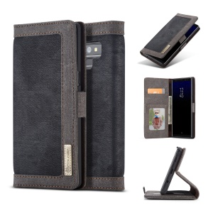 CASEME 006 Canvas Cloth Texture Wallet Leather Stand Case for Samsung Galaxy Note9 SM-N960 - Black