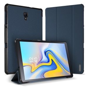 DUXDUCIS Domo Series Cloth Texture Tri-fold Stand PU Leather Smart Shell for Samsung Galaxy Tab A 10.5 (2018) T590 T595 - Blue