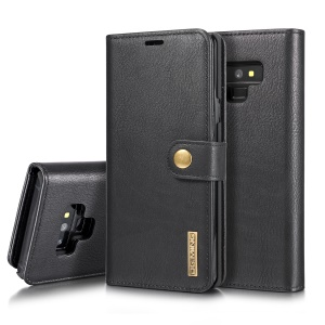 DG.MING for Samsung Galaxy Note9 N960 Detachable 2-in-1 Split Leather Wallet + PC Back Case - Black