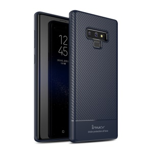 IPAKY Carbon Fiber Series TPU Back Phone Casing for Samsung Galaxy Note9 N960 - Dark Blue