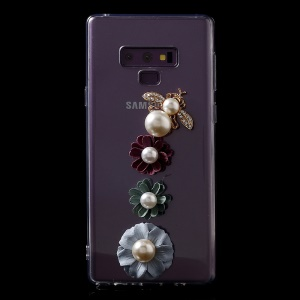Diamante Acrylic + TPU Hybrid Mobile Phone Shell for Samsung Galaxy Note9 N960 - Flower and Pearl