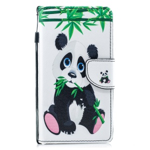 Pattern Painting Cross Texture Leather Wallet Stand Shell for Samsung Galaxy A8 (2018) - Panda