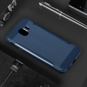 Carbon Fiber Texture Matte TPU Cell Phone Cover for Samsung Galaxy J4 (2018) - Dark Blue