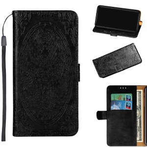 Imprinted Chinese Auspicious Dragon PU Leather Wallet Case for Samsung Galaxy A6 Plus (2018) / A9 Star Lite - Black