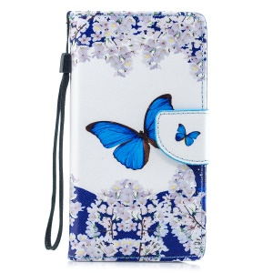Pattern Painting Cross Texture Leather Wallet Stand Mobile Phone Cover for Samsung Galaxy J6 (2018) - Butterfly
