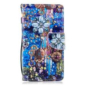Pattern Painting Cross Texture Leather Wallet Stand Cell Phone Case for Samsung Galaxy J4 (2018) - Abstract Painting