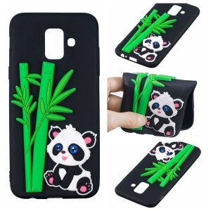 3D Cartoon Pattern TPU Mobile Casing for Samsung Galaxy A6 (2018) - Black Case Panda and Bamboo Pattern