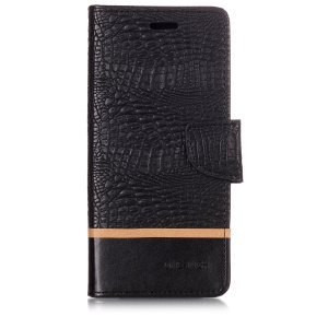 Crocodilo Textura Splicing Carteira De Couro Pu Stand Case Para Samsung Galaxy Note9 N960 - Preto