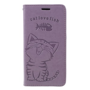 Imprint Cat and Fish Bone Wallet Stand Leather Case Accessory for Samsung Galaxy S9 G960 - Purple