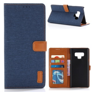 Jeans Cloth Leather Wallet Stand Case for Samsung Galaxy Note9 N960 - Dark Blue