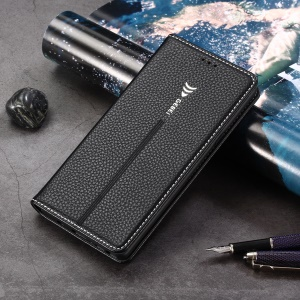 GEBEI Litchi Texture Leather Card Slots Stand Case for Samsung Galaxy Note9 SM-N960 - Black