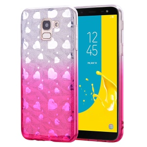 Gradient Color Love Heart 3D Diamond Grain Soft TPU Phone Accessory Shell for Samsung Galaxy J6 (2018) - Rose
