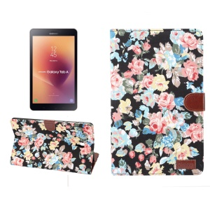 Flower Cloth Skin Wallet PU Leather Tablet Case for Samsung Galaxy Tab A 10.5 (2018) T590 T595 - Black